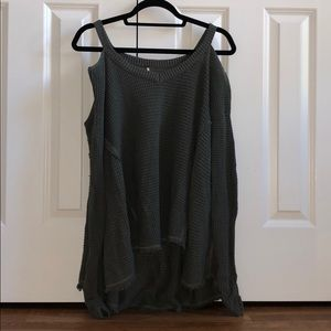 Free People Sweaters - Free People army green cold shoulder sweater